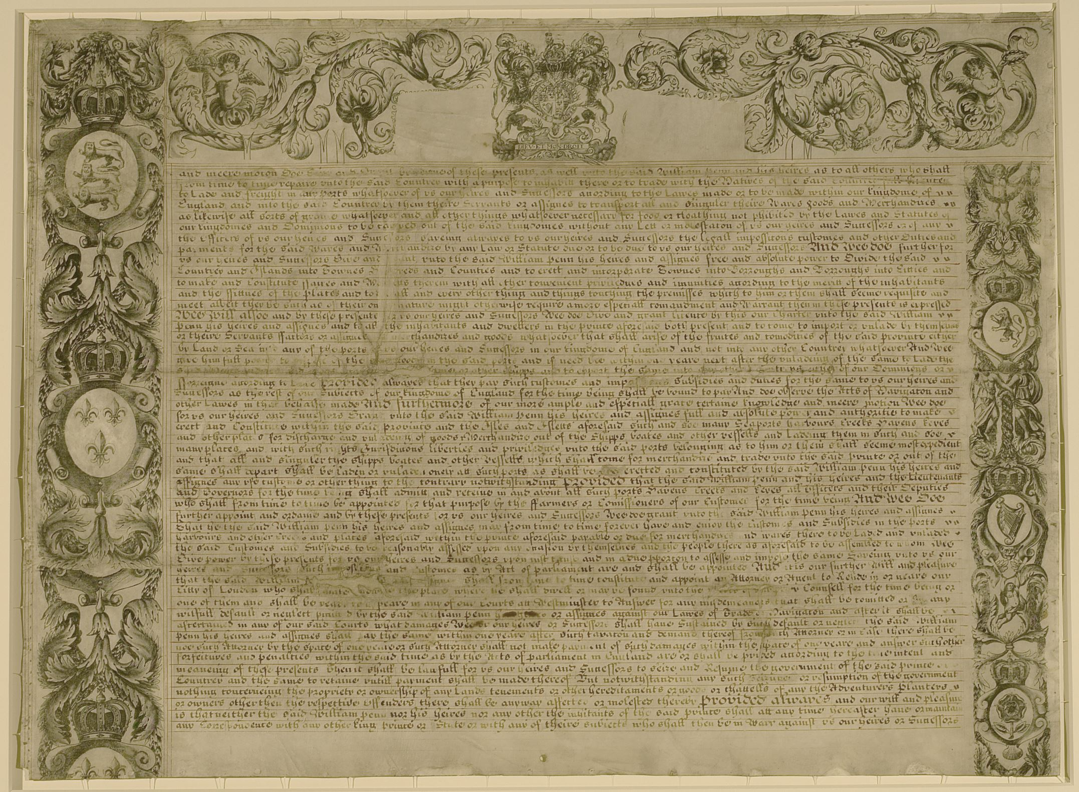 Pennsylvania Charter Page 3, Iron gall ink on paper, 23inx31½in